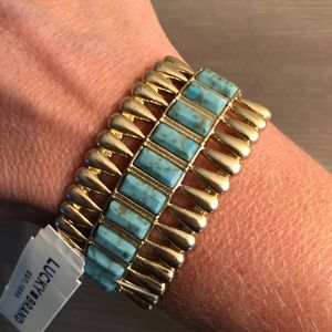 Lucky Brand gold and turquoise cuff bracelet